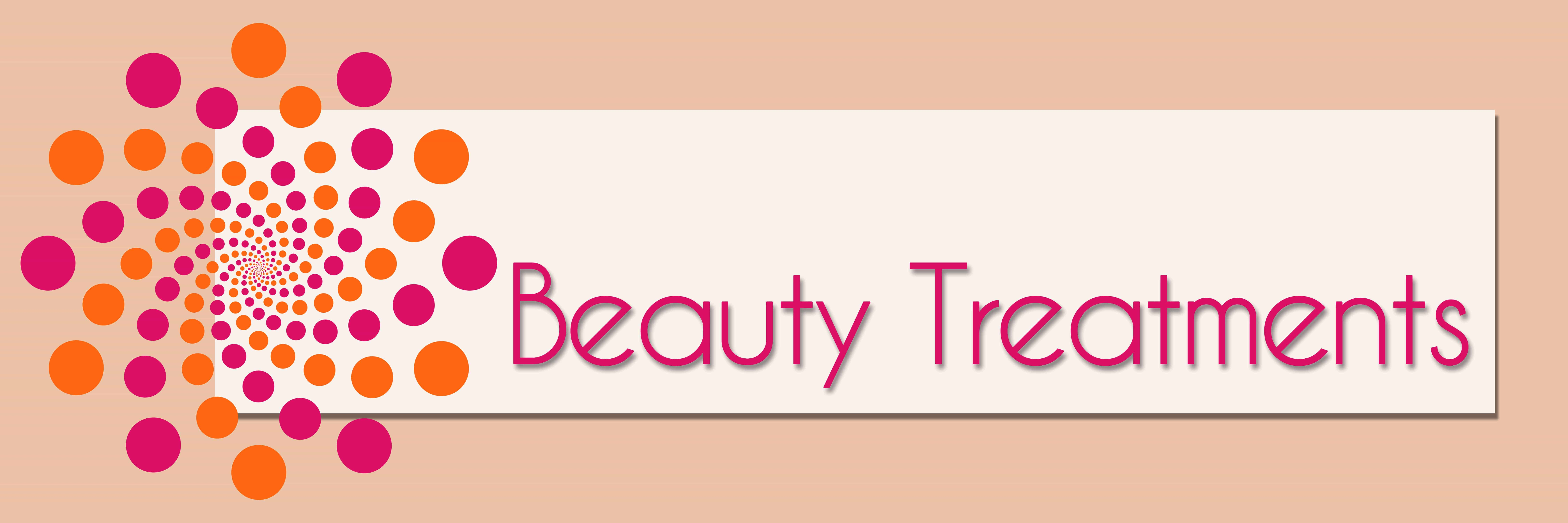 Banner with Beauty Treatments in red text
