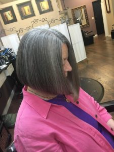 Asymmetrical tapered straight above shoulders hairstyle