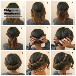 8 small pictures showing how to back a Chignon wearing a head band