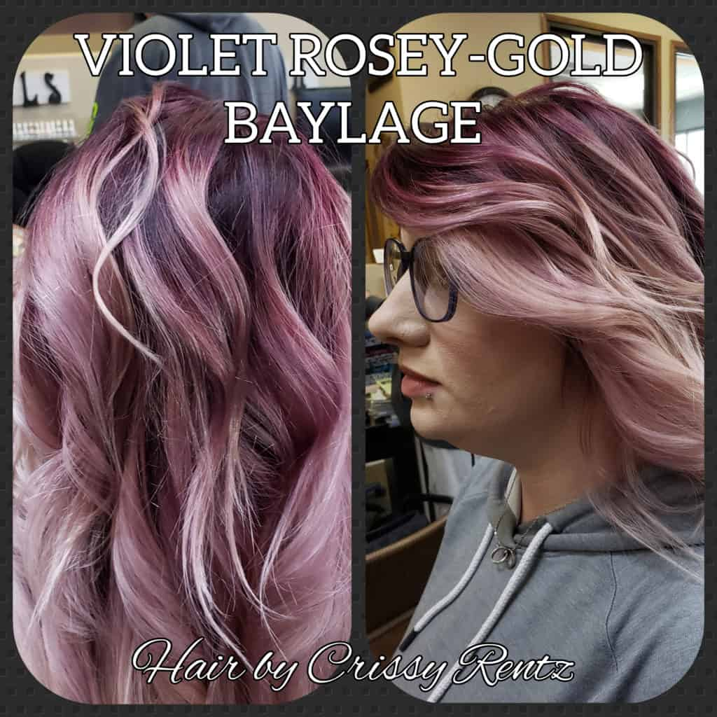 Violet rose colored wavy hair