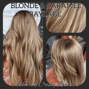 Blond, and caramel colored long ladies hair