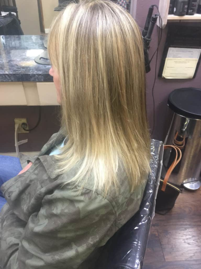 Multy highlighted straight light brown ladies hair