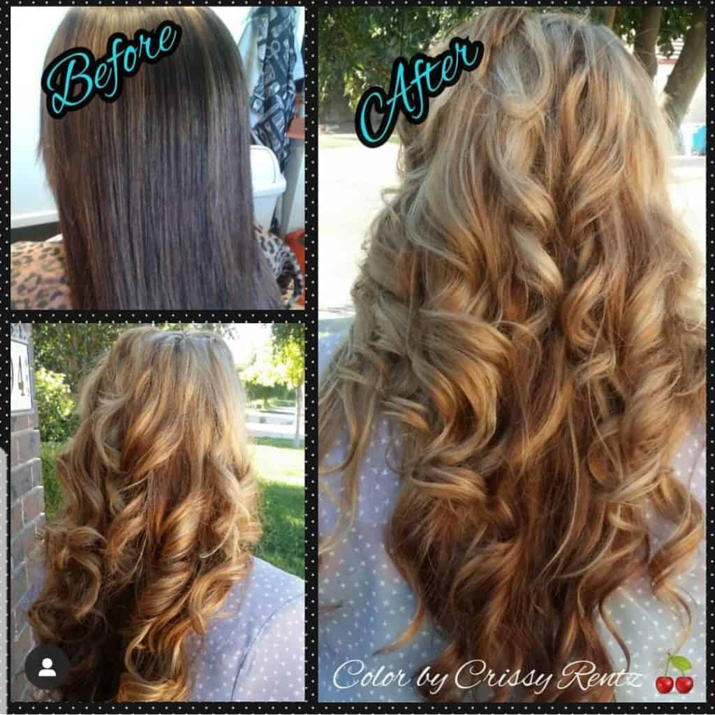 Curly ladies long hair gold, and auburn highlights