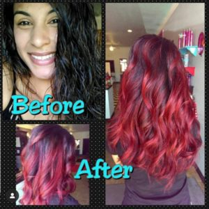 Reddish colored long waving ladies hair