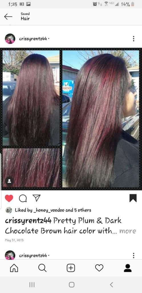 Long black hair colored/ highlighted a burgandy.
